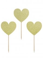 6 decorazioni per dolci cuori dorati