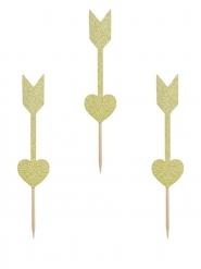 6 decorazioni per dolci frecce dorate