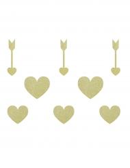 8 decorazioni in cartone cuori e frecce oro