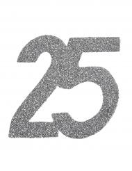 6 maxi coriandoli argento numero 25