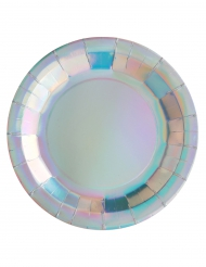 10 piatti in cartone iridescenti 23 cm