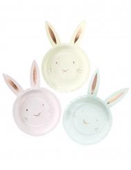 8 piatti in cartone personalizzabili con orecchie da coniglio 23 cm