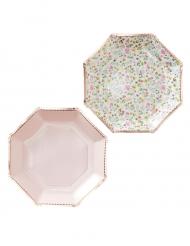 8 piatti ottagonali di carta oro rosa floreali 23 cm