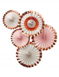 5 rosoni oro rosa metallizzati e floreali