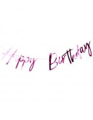 Ghirlanda Happy Birthday fucsia metallizzato