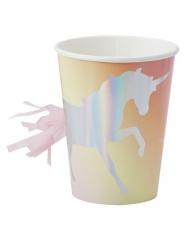 8 bicchieri in cartone unicorno con pon pon