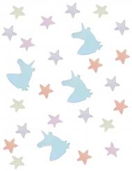 Coriandoli da tavola unicorni e stelle color pastello