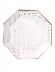 8 piatti ottagonali di carta con pois oro rosa 25 cm