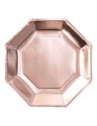 8 piatti ottagonali di carta oro rosa 25 cm