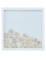 Libro per firme quadro in legno con rondelle
