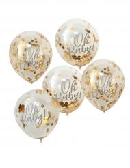 5 palloncini Oh Baby trasparenti con coriandoli oro