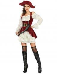 Costume bianco e rosso pirata per donna