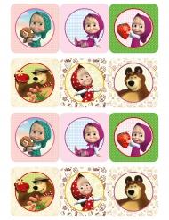 12 decorazioni di zucchero per biscotti Masha e Orso™