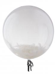 Palloncino sferico trasparente con piume bianche 45 cm