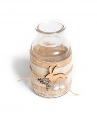 Vasetto con tela di iuta e coniglio in legno