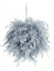 Sfera decorativa di piume grige 40 cm