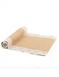 Runner da tavola in tela di iuta con pizzo sui bordi