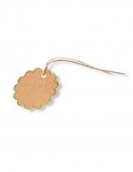8 etichette fiore kraft con bordo brillantini oro