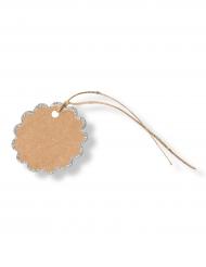 8 etichette fiore kraft con bordo brillantini argento