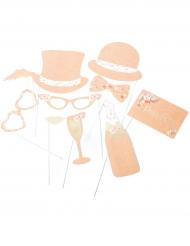 Kit photobooth 10 accessori matrimonio floreale