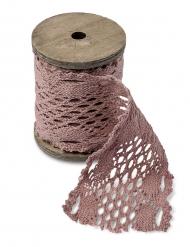 Nastro in maglia ricamato rosa antico