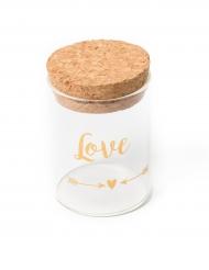 Provetta in vetro Love oro con tappo