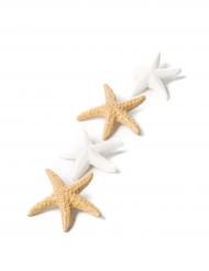 6 stelle marine adesive bianche e sabbia iridescente