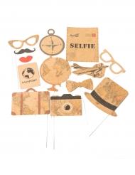 Kit photobooth 13 accessori tema viaggio