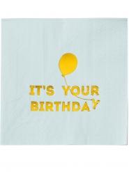 16 tovaglioli di carta It's your birthday celeste e oro