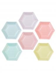 12 piattini in cartone esagonali con 6 colori pastello 18 cm