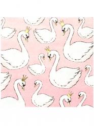 16 tovaglioli piccoli in carta Cigno rosa cipria