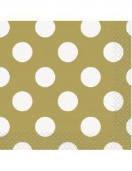 16 tovagliolini di carta dorati a pois bianchi