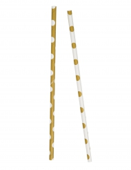 10 cannucce in cartone a pois bianchi e oro