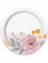 8 piattini in cartone Mr & Mrs floreali bianchi e rosa 18 cm