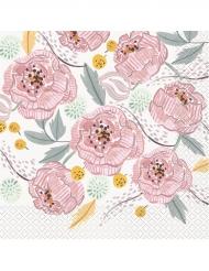 16 tovaglioli con fiori bianchi e rosa