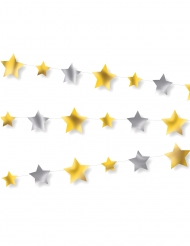 Ghirlanda di carta con stelle oro e argento