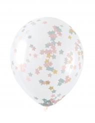 5 palloncini trasparenti con coriandoli stelle pastello