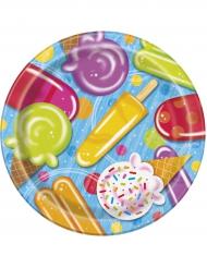 8 piatti in cartone con gelati 23 cm