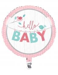 Palloncino alluminio Hello baby rosa