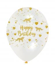 6 palloncini in lattice Happy Birthday unicorno dorato