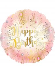 Palloncino alluminio Happy Birthday oro e rosa