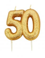 Candelina di compleanno oro brillante 50 anni