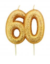 Candelina di compleanno oro brillante 60 anni