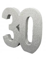 Centrotavola argentato con brillantini 30 anni