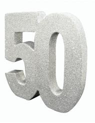 Centrotavola argentato con brillantini 50 anni