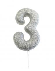 Candelina numero 3 brillantini argento