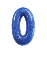 Candelina blu con brillantini numero 0