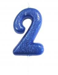 Candelina blu con brillantini numero 2