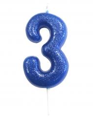Candelina blu con brillantini numero 3