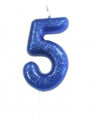 Candelina blu con brillantini numero 5